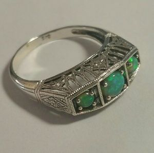 Natural green opal, sterling silver .925 ring 7